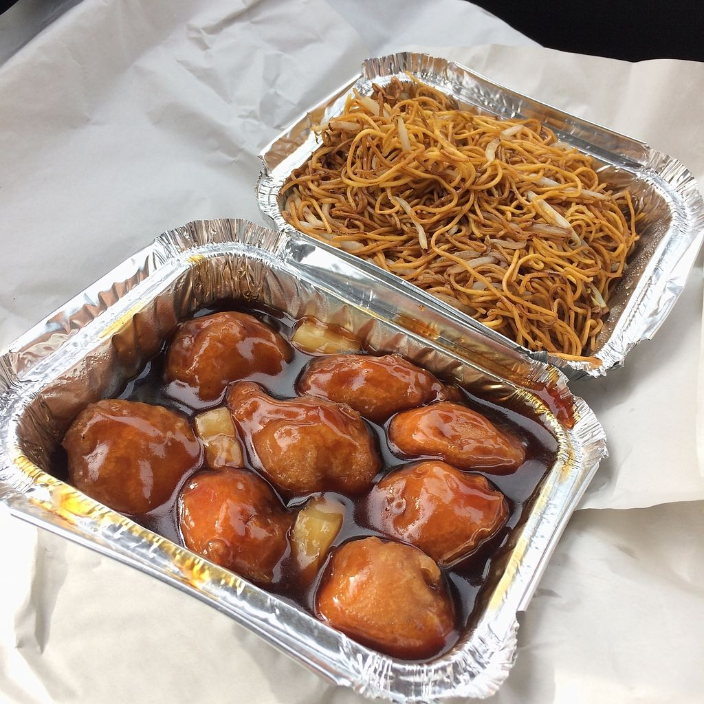 """Photo of Harvest Vegetarian Kitchen  by <a href=""""/members/profile/Hoggy"""">Hoggy</a> <br/>Sweet and Sour 'Chicken' with a side of Noodles and Beansprouts <br/> August 1, 2017  - <a href='/contact/abuse/image/79954/287713'>Report</a>"""
