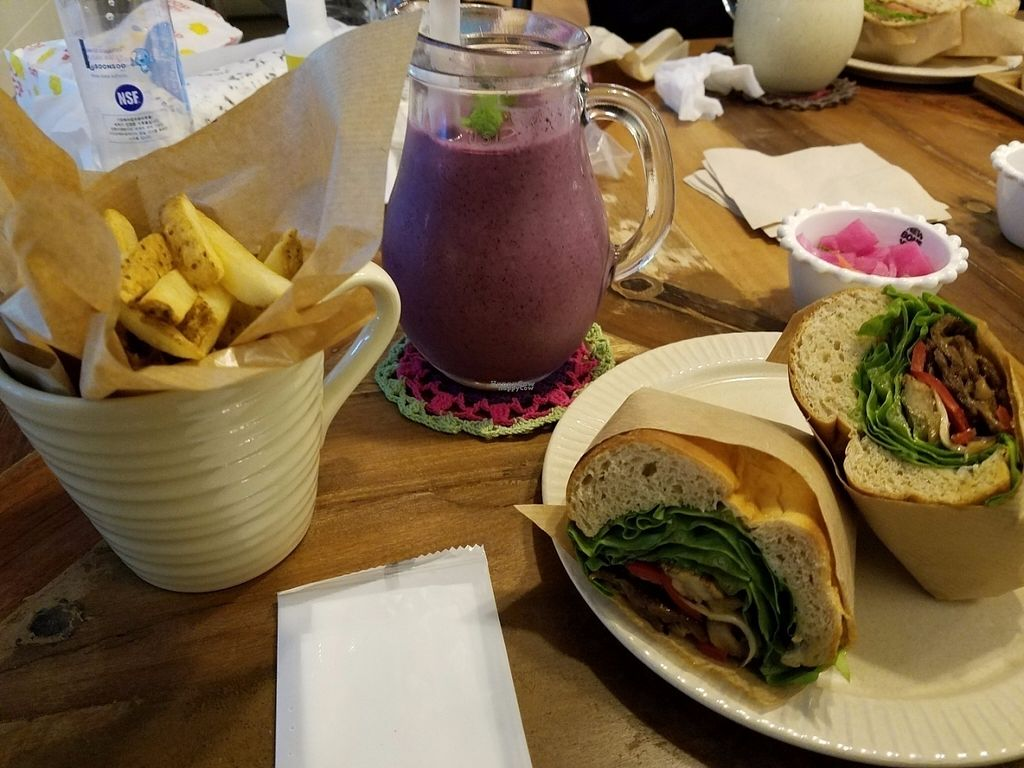 "Photo of Cafe 100 - Mother's Vegan Burger  by <a href=""/members/profile/Kennya"">Kennya</a> <br/>Blueberry smoothie, fries, and the buldeoug <br/> October 19, 2016  - <a href='/contact/abuse/image/79959/182909'>Report</a>"