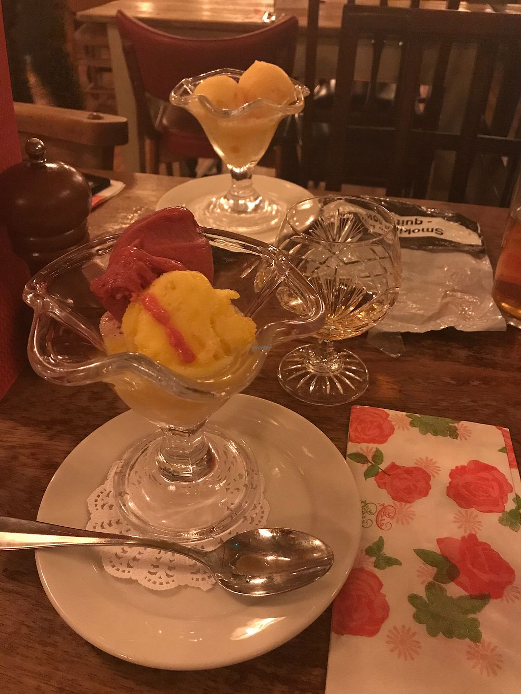 """Photo of The Cosy Club  by <a href=""""/members/profile/MelbourneMegan"""">MelbourneMegan</a> <br/>Vegan sorbet <br/> September 8, 2017  - <a href='/contact/abuse/image/79966/302116'>Report</a>"""