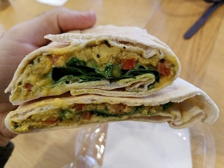 "Photo of Veggie Pret - Broadwick St  by <a href=""/members/profile/kenvegan"">kenvegan</a> <br/>Chana chaat  flat bread <br/> October 6, 2016  - <a href='/contact/abuse/image/79977/180055'>Report</a>"