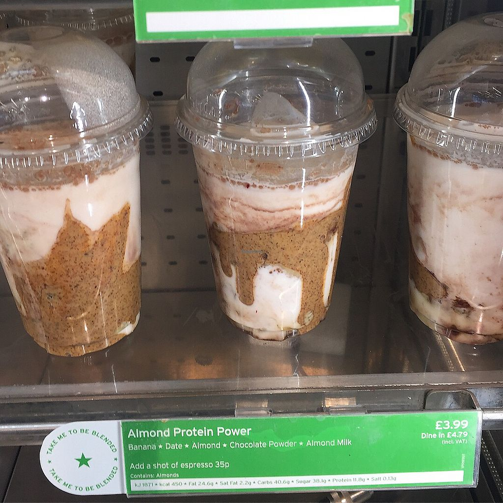 "Photo of Veggie Pret - Broadwick St  by <a href=""/members/profile/bakeydoesntbake"">bakeydoesntbake</a> <br/>Almond Protein Powder Shake <br/> November 28, 2017  - <a href='/contact/abuse/image/79977/330187'>Report</a>"
