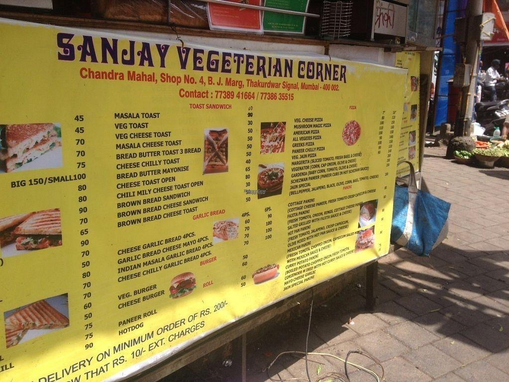 "Photo of Sanjay Vegetarian Corner  by <a href=""/members/profile/vegan_ryan"">vegan_ryan</a> <br/>Menu <br/> September 13, 2016  - <a href='/contact/abuse/image/80005/175390'>Report</a>"