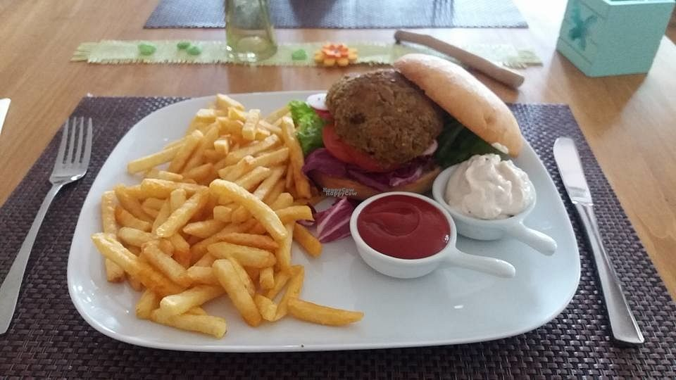 """Photo of Haus am See  by <a href=""""/members/profile/Alioli"""">Alioli</a> <br/>Vegan bean burguer <br/> September 15, 2016  - <a href='/contact/abuse/image/80028/175840'>Report</a>"""