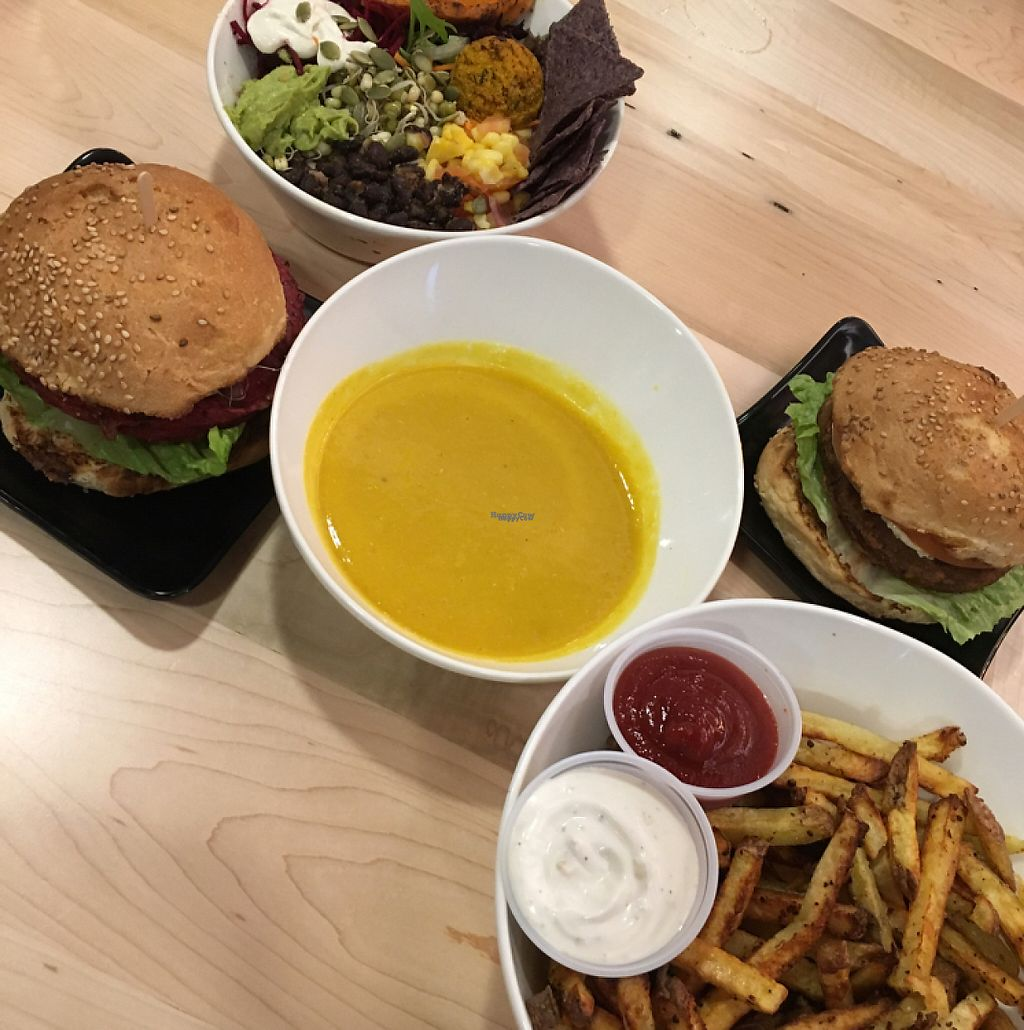 """Photo of Copper Branch  by <a href=""""/members/profile/jennabarrett"""">jennabarrett</a> <br/>Aztec bowl, fries, Copper Burger, Spicy Black Bean burger, Bombay soup <br/> January 14, 2017  - <a href='/contact/abuse/image/80030/211810'>Report</a>"""