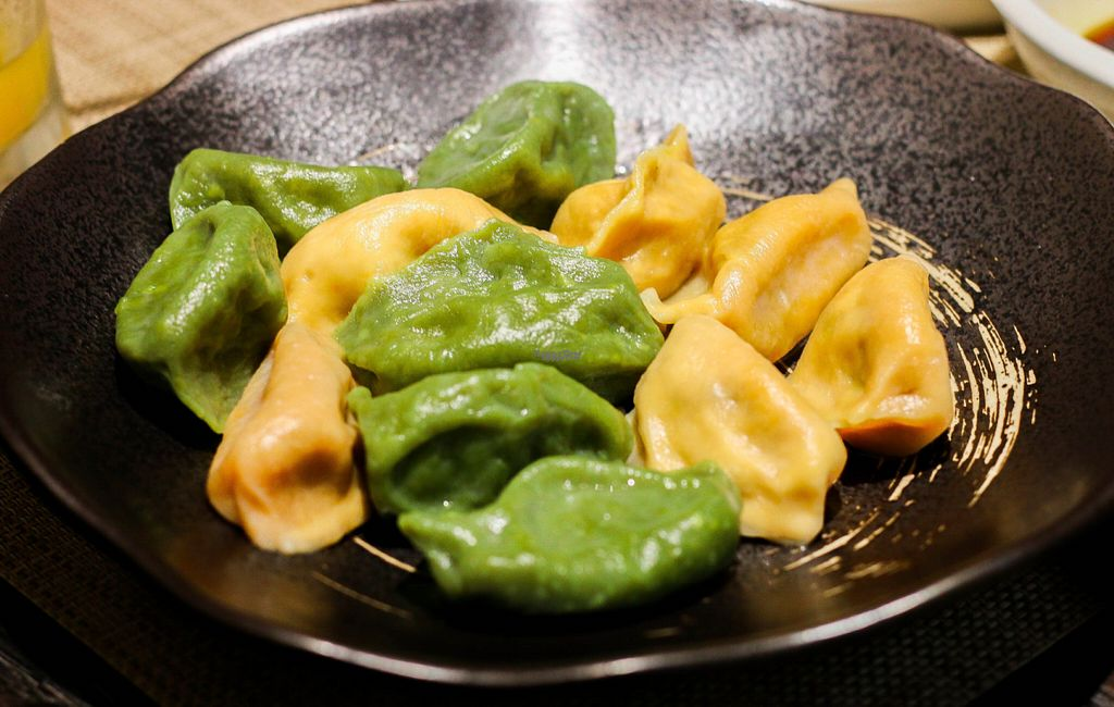 """Photo of CLOSED: Old Wood Village  by <a href=""""/members/profile/myvegandubai"""">myvegandubai</a> <br/>Veggie Dumplings (filled with carrot / spinach) <br/> September 14, 2016  - <a href='/contact/abuse/image/80046/175602'>Report</a>"""