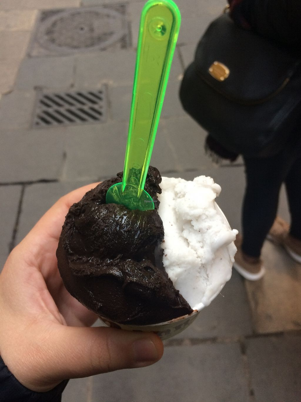 "Photo of Manna Gelats  by <a href=""/members/profile/sabrinajh"">sabrinajh</a> <br/>Left - vegan dark chocolate (amazing and perfect). Right - rice, ginger, cinnamon flavour, good too! <br/> December 31, 2017  - <a href='/contact/abuse/image/80072/341441'>Report</a>"