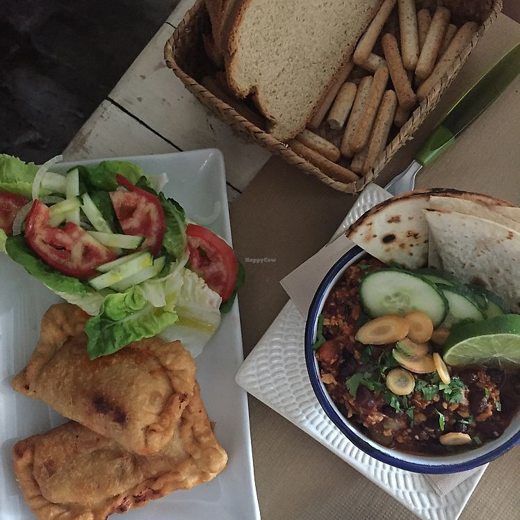 "Photo of EcoTaperia El Cortijo  by <a href=""/members/profile/JudyNadel"">JudyNadel</a> <br/>pumpkin vegan chorizo parcel & vegan chilli ❤️ <br/> July 24, 2017  - <a href='/contact/abuse/image/80099/284390'>Report</a>"