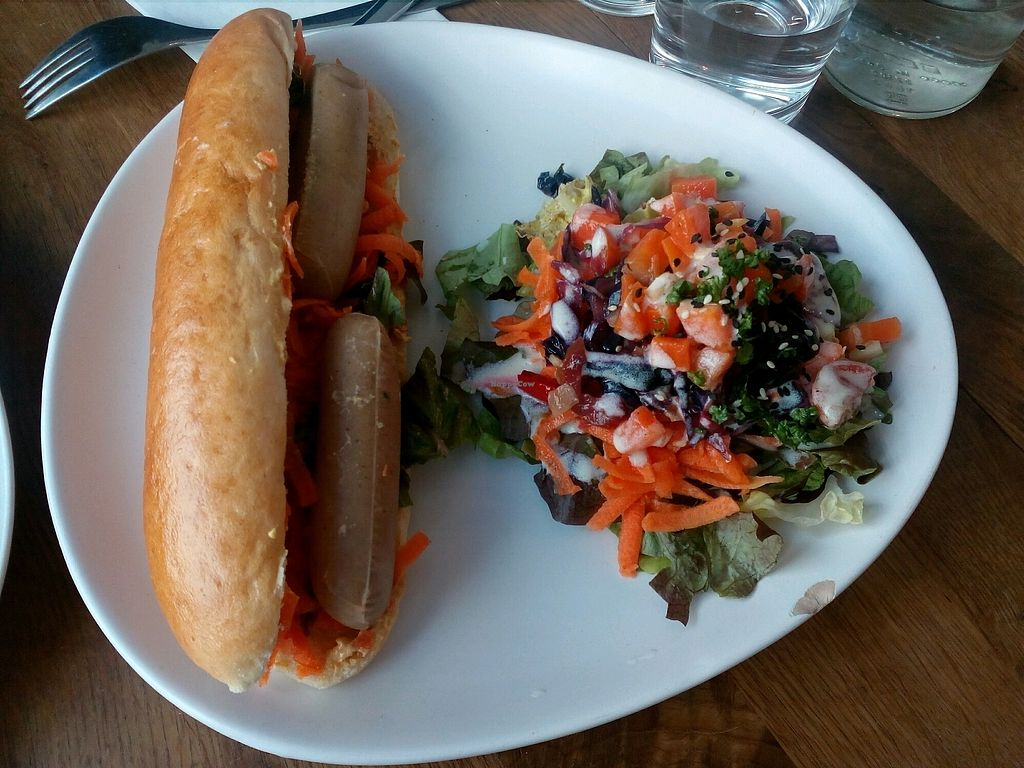 """Photo of Vege Cafe  by <a href=""""/members/profile/wyrd"""">wyrd</a> <br/>sitan hot dog with salad <br/> March 16, 2018  - <a href='/contact/abuse/image/80123/371346'>Report</a>"""
