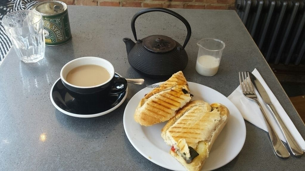 """Photo of CLOSED: Love and Scandal  by <a href=""""/members/profile/veganpride"""">veganpride</a> <br/>roast veg panini with vegan cheese. loose leaf Earl grey tea with oat milk.  lovely  <br/> September 17, 2016  - <a href='/contact/abuse/image/80159/176341'>Report</a>"""