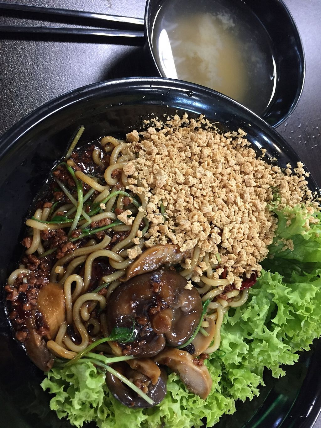 """Photo of CLOSED: Vegandeli  by <a href=""""/members/profile/lindyhan"""">lindyhan</a> <br/>Minced bean ramen $6.9 - noodles with thick sauce, grounded peanuts, lettuce, """"minced meat"""", mushrooms and a soup by the side. Before mixing <br/> August 8, 2017  - <a href='/contact/abuse/image/80167/290335'>Report</a>"""