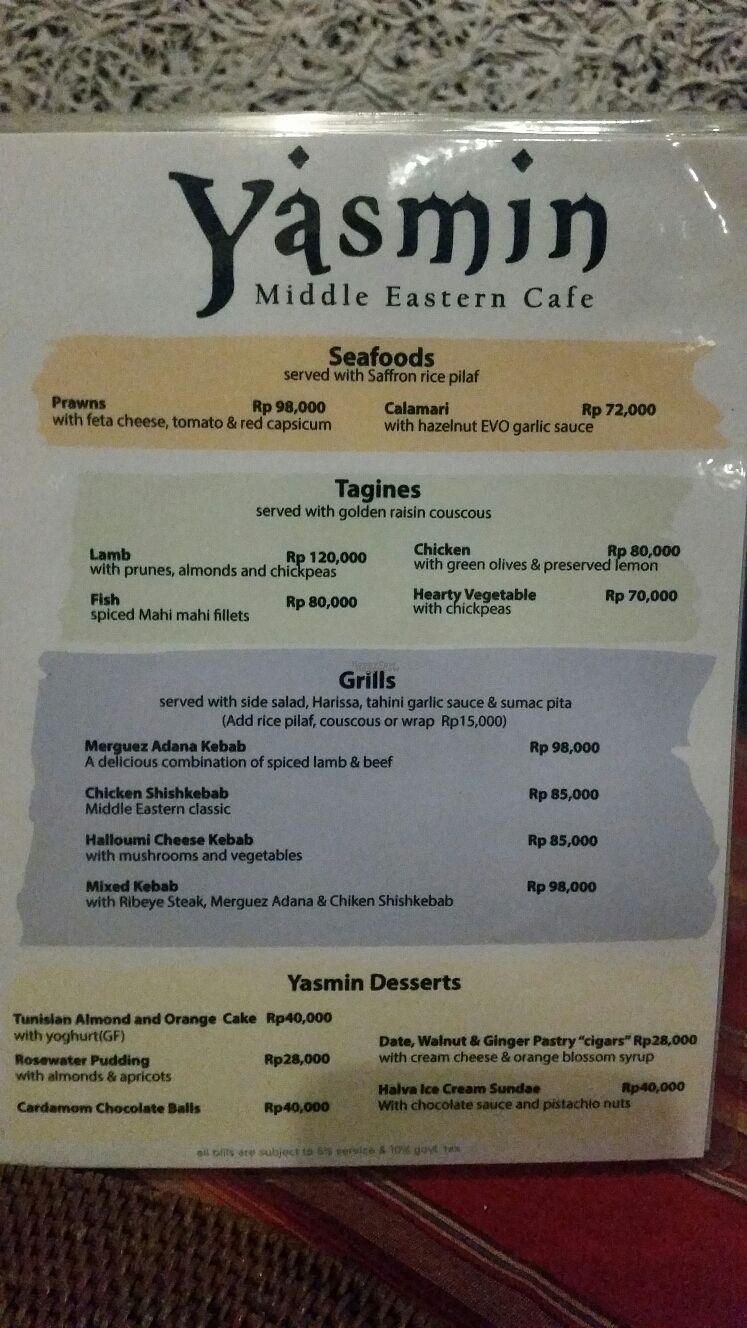 """Photo of Yasmin Middle Eastern Cafe  by <a href=""""/members/profile/Mashayla.G"""">Mashayla.G</a> <br/>menu  <br/> September 17, 2016  - <a href='/contact/abuse/image/80187/176242'>Report</a>"""