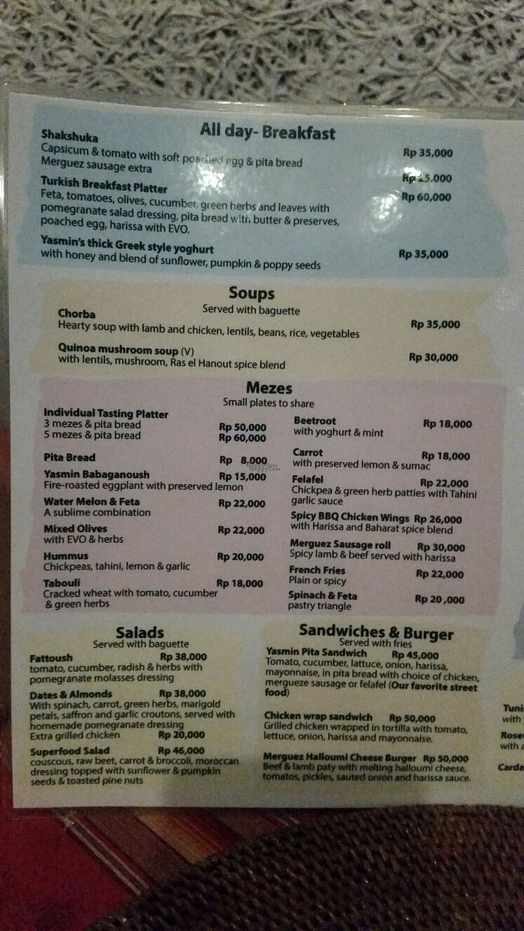 """Photo of Yasmin Middle Eastern Cafe  by <a href=""""/members/profile/Mashayla.G"""">Mashayla.G</a> <br/>menu <br/> September 17, 2016  - <a href='/contact/abuse/image/80187/176243'>Report</a>"""