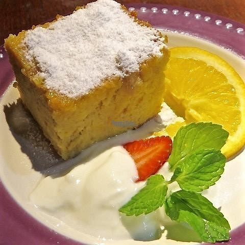 """Photo of Yasmin Middle Eastern Cafe  by <a href=""""/members/profile/KarmaPhala"""">KarmaPhala</a> <br/>Tunisian Almond & Orange Cake ( GF ) served with yogurt on the side <br/> October 13, 2016  - <a href='/contact/abuse/image/80187/181799'>Report</a>"""
