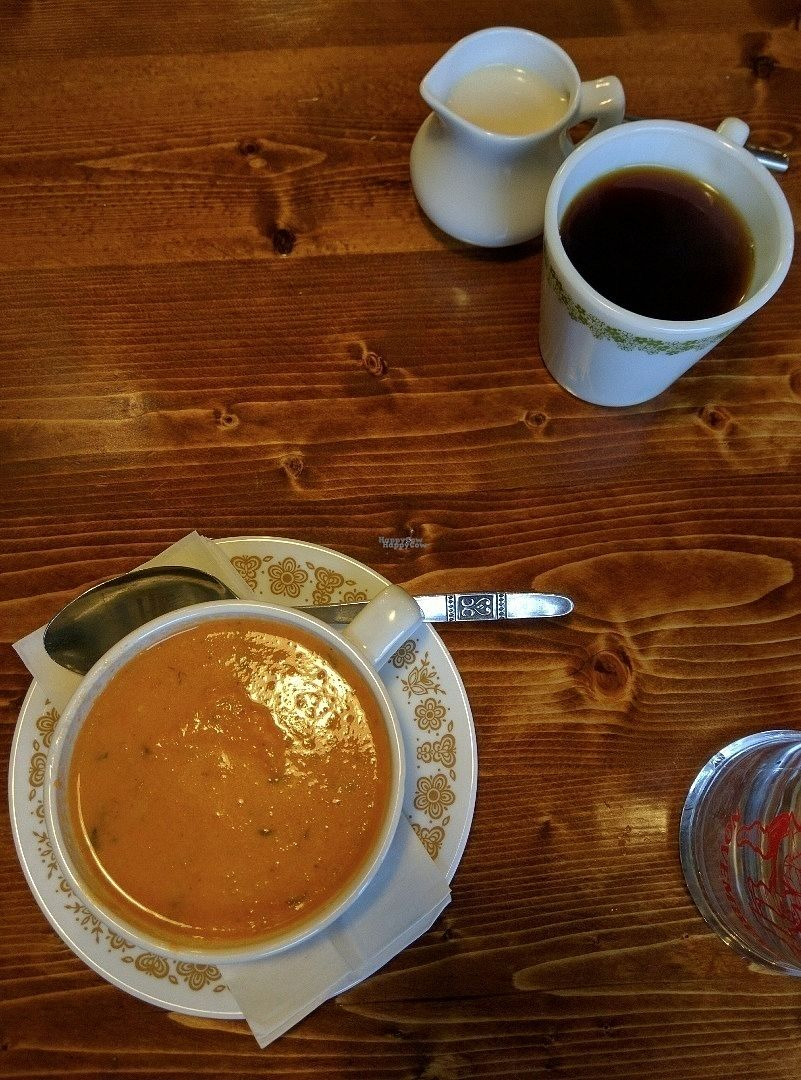 """Photo of Hunter Gatherer Vegetarian Diner  by <a href=""""/members/profile/hailseitan23"""">hailseitan23</a> <br/>Cream of tomato soup and coffee <br/> October 26, 2016  - <a href='/contact/abuse/image/80201/184468'>Report</a>"""