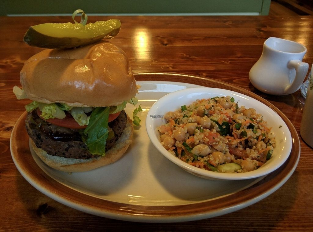 """Photo of Hunter Gatherer Vegetarian Diner  by <a href=""""/members/profile/hailseitan23"""">hailseitan23</a> <br/>The Stranger (veganized) with pickled chickpea salad <br/> October 26, 2016  - <a href='/contact/abuse/image/80201/184469'>Report</a>"""