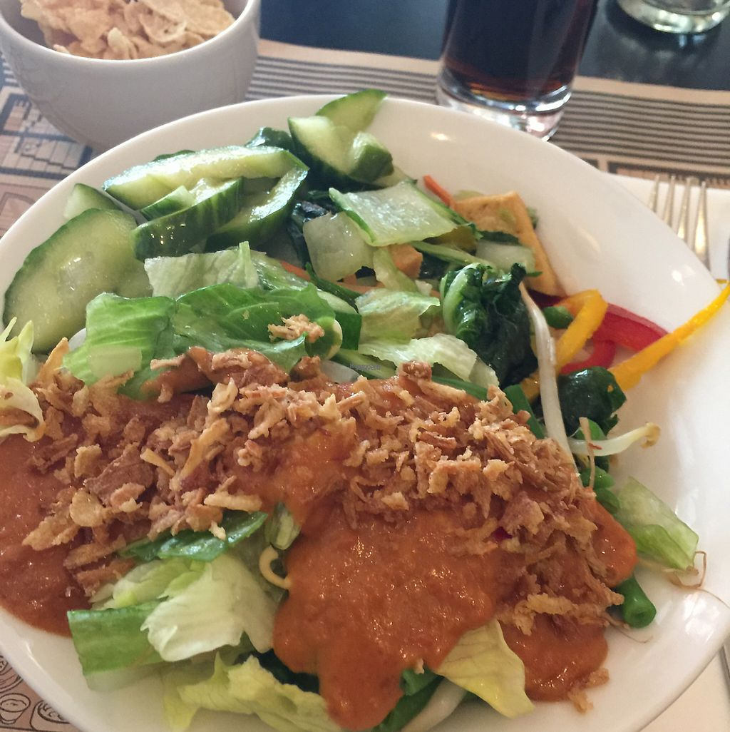 """Photo of Kantjil & De Tijger  by <a href=""""/members/profile/Minilowen"""">Minilowen</a> <br/>Rice and two veggie sides with peanut sauce <br/> April 6, 2017  - <a href='/contact/abuse/image/80202/245235'>Report</a>"""