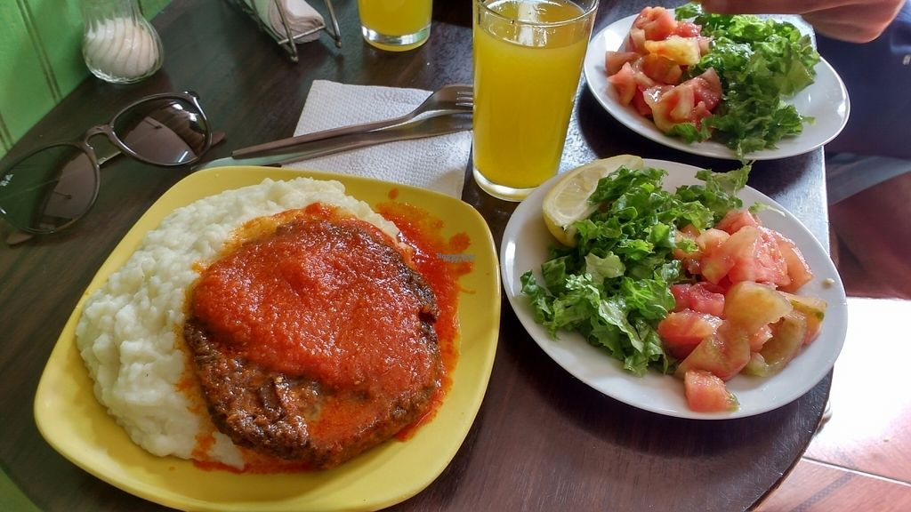 """Photo of Dharma Vegetariano  by <a href=""""/members/profile/Marionvegan"""">Marionvegan</a> <br/>Lunch menu (vegan): Soy burger with mashed potatoes <br/> September 17, 2016  - <a href='/contact/abuse/image/80220/176412'>Report</a>"""