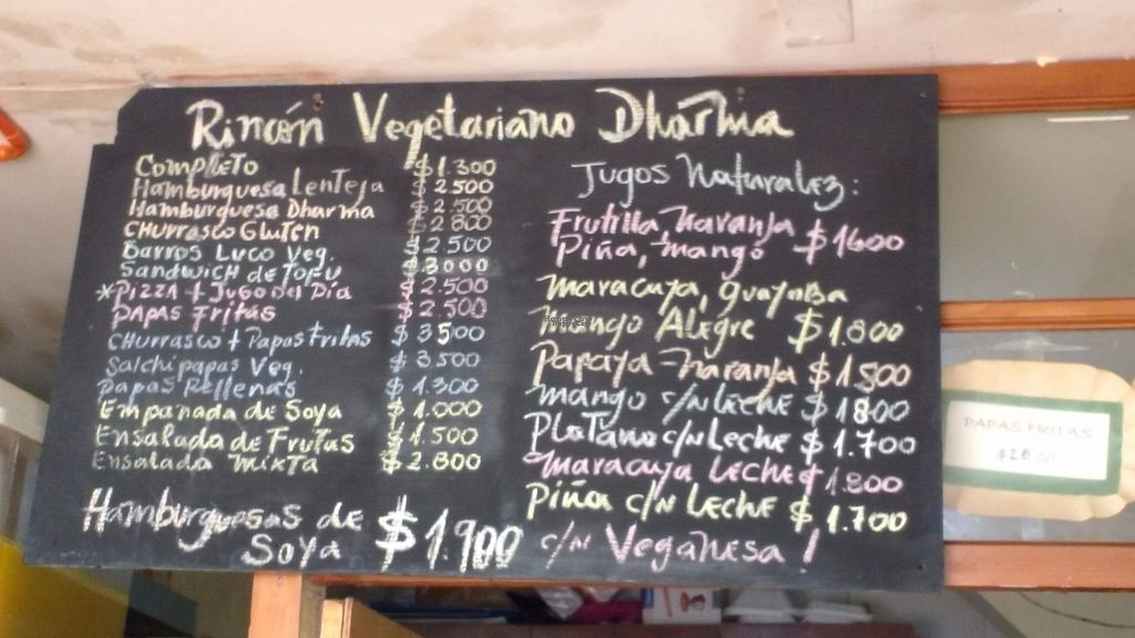 """Photo of Dharma Vegetariano  by <a href=""""/members/profile/Marionvegan"""">Marionvegan</a> <br/>Menu <br/> September 17, 2016  - <a href='/contact/abuse/image/80220/176414'>Report</a>"""