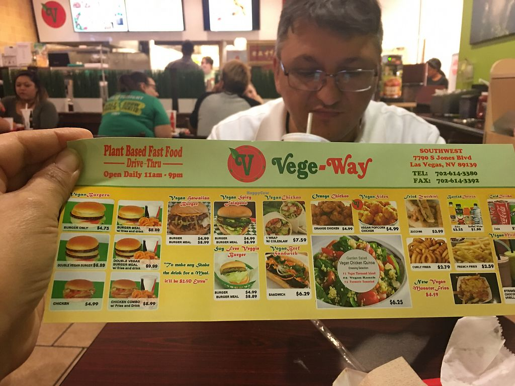 """Photo of VegeWay - S Jones  by <a href=""""/members/profile/Lailanotte"""">Lailanotte</a> <br/>This is the menu!!! And my husband!!! <br/> August 18, 2017  - <a href='/contact/abuse/image/80254/293865'>Report</a>"""