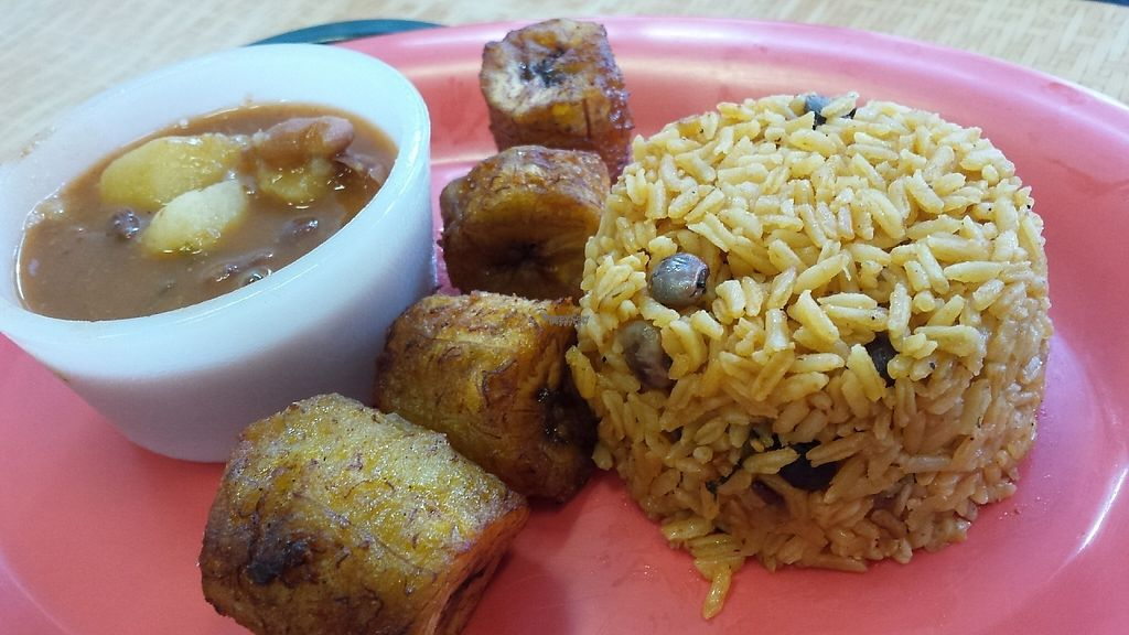 """Photo of Pilar Caribbean  by <a href=""""/members/profile/American%20Vegan"""">American Vegan</a> <br/>Rice, beans, plantain. Delicious!  <br/> December 1, 2016  - <a href='/contact/abuse/image/80290/196429'>Report</a>"""