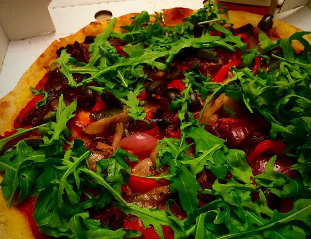 """Photo of Nico's  by <a href=""""/members/profile/CiaraSlevin"""">CiaraSlevin</a> <br/>Vegan pizza from Nico's w roast Med veg, olives, caramelised onion & rocket <br/> September 19, 2016  - <a href='/contact/abuse/image/80298/240274'>Report</a>"""