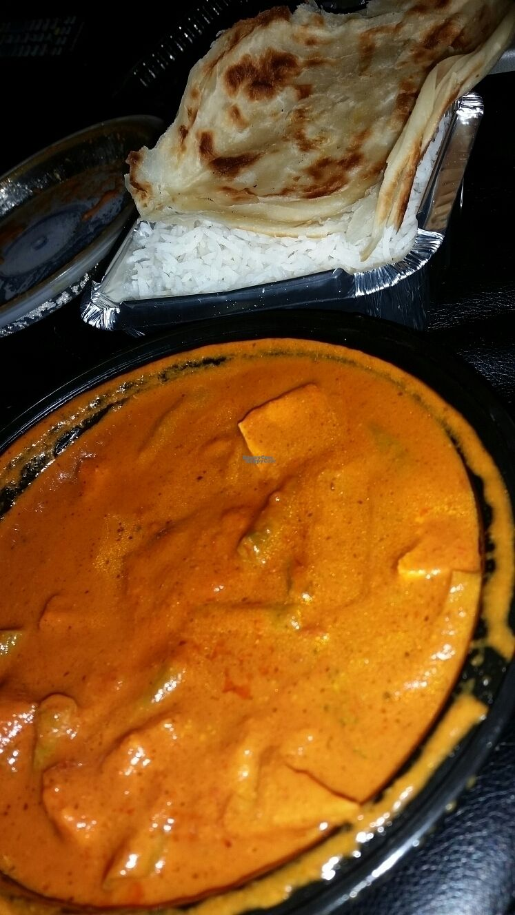 "Photo of Manjal Indian Fusion  by <a href=""/members/profile/Sweetmaryjane420"">Sweetmaryjane420</a> <br/>Vegan Tofu Tikka Masala and Paratha <br/> September 21, 2016  - <a href='/contact/abuse/image/80300/177224'>Report</a>"