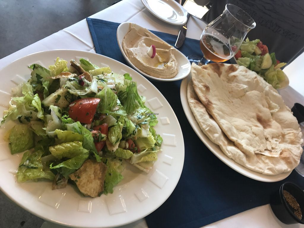 """Photo of Daddy's Place  by <a href=""""/members/profile/Spetri01"""">Spetri01</a> <br/>Traditional Hummus, Fattoush, and hot pita <br/> August 4, 2017  - <a href='/contact/abuse/image/80341/288806'>Report</a>"""