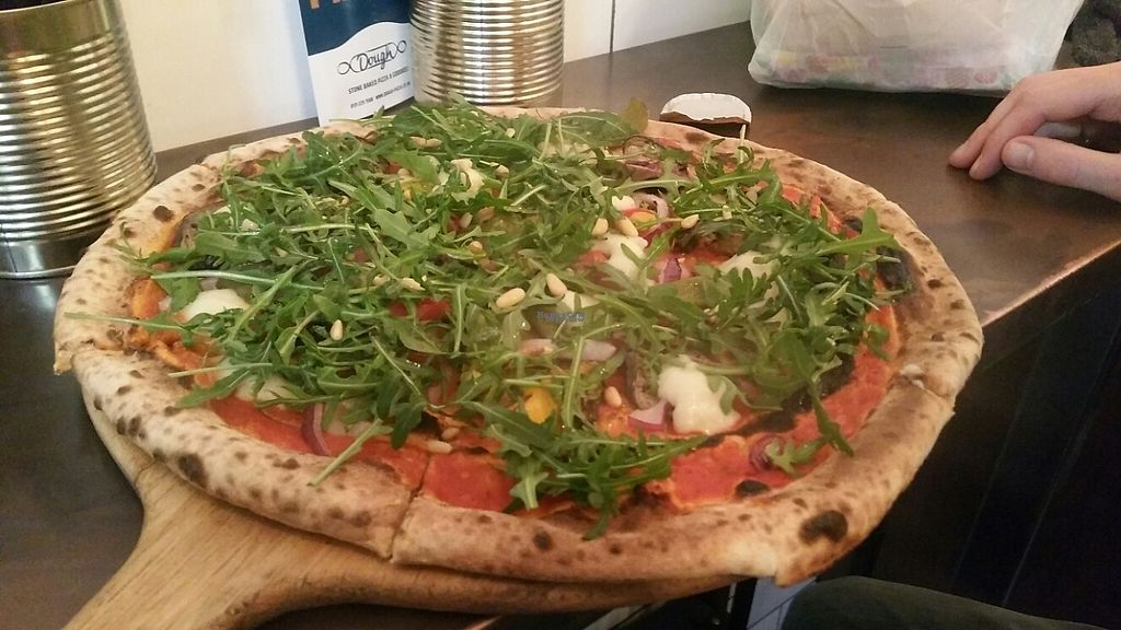 """Photo of Dough Pizzeria  by <a href=""""/members/profile/KatieBatty"""">KatieBatty</a> <br/>Vegan Affair Pizza <br/> February 13, 2017  - <a href='/contact/abuse/image/80361/226230'>Report</a>"""