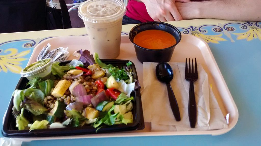 """Photo of Disneyland - Jolly Holiday Bakery Cafe  by <a href=""""/members/profile/FreeBird"""">FreeBird</a> <br/>Grilled vegetable and whole-grain salad, tomato basil soup, and an iced soy latte <br/> September 25, 2016  - <a href='/contact/abuse/image/80395/177812'>Report</a>"""