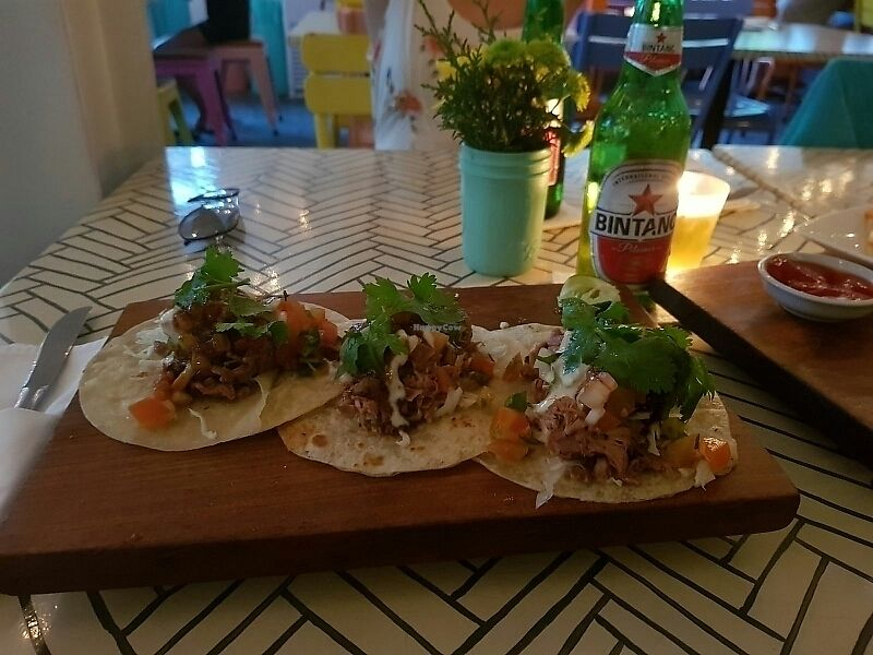 """Photo of Sea Circus  by <a href=""""/members/profile/schallioner"""">schallioner</a> <br/>Pulled jackfruit tacos with vegan crema <br/> July 26, 2017  - <a href='/contact/abuse/image/80401/285043'>Report</a>"""