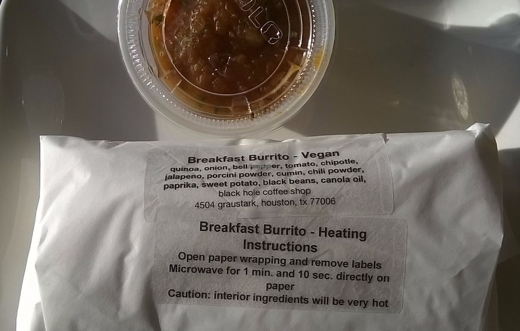 "Photo of Black Hole Coffee House  by <a href=""/members/profile/veggie_htx"">veggie_htx</a> <br/>Vegan breakfast burrito <br/> September 25, 2016  - <a href='/contact/abuse/image/80432/228352'>Report</a>"
