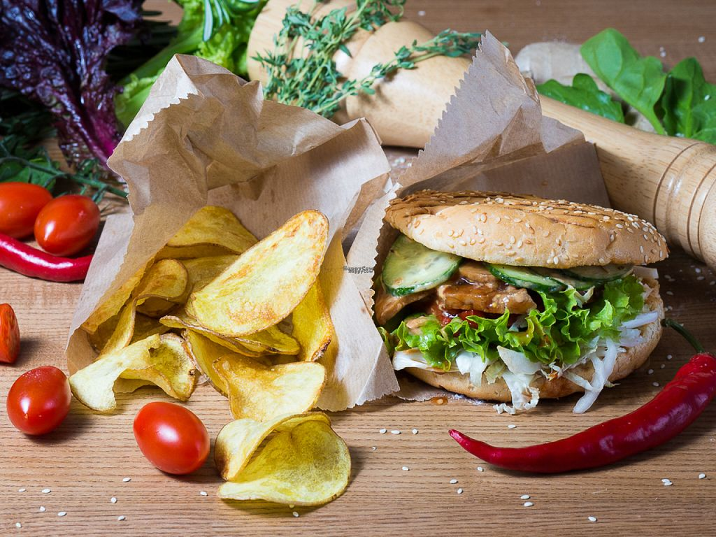 """Photo of CLOSED: GreenBurg   by <a href=""""/members/profile/PortunovDenis"""">PortunovDenis</a> <br/>Seytan burger with potatoes chips  <br/> November 3, 2016  - <a href='/contact/abuse/image/80468/186417'>Report</a>"""