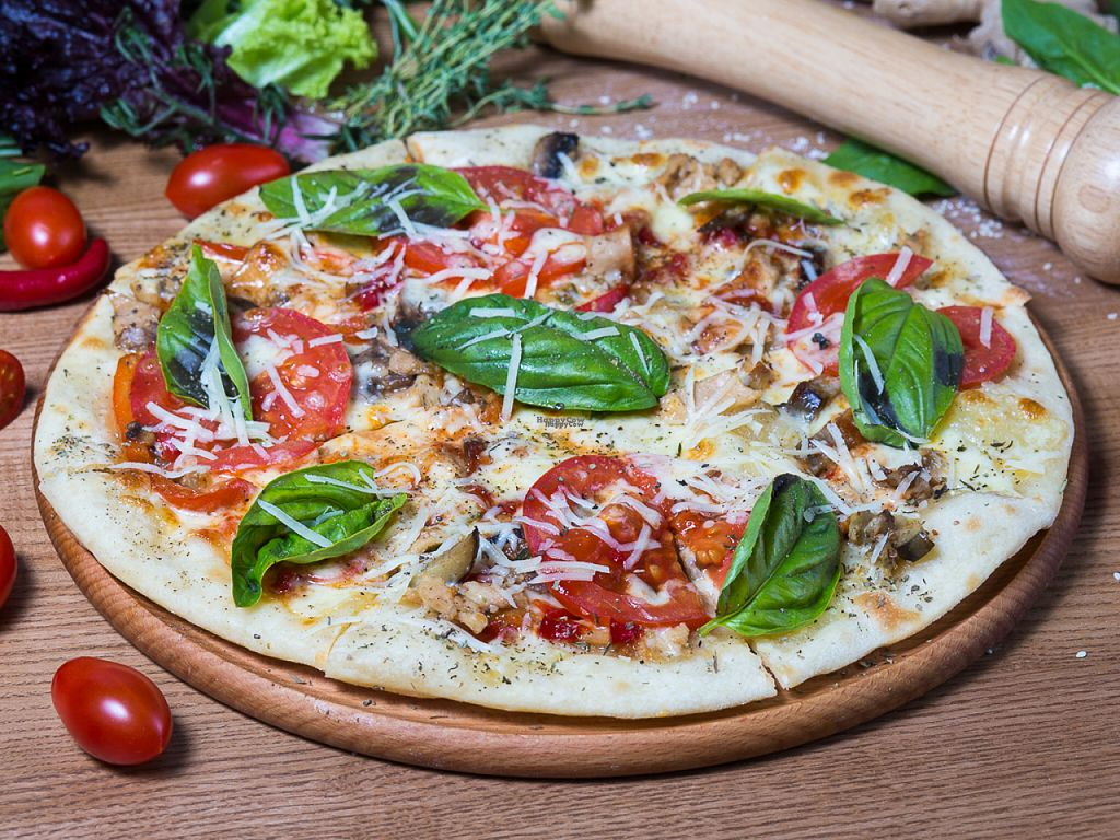"""Photo of CLOSED: GreenBurg   by <a href=""""/members/profile/PortunovDenis"""">PortunovDenis</a> <br/>BBQ pizza. Soya, vegetables, mushrooms, cheese, tomatoes  <br/> November 3, 2016  - <a href='/contact/abuse/image/80468/186418'>Report</a>"""