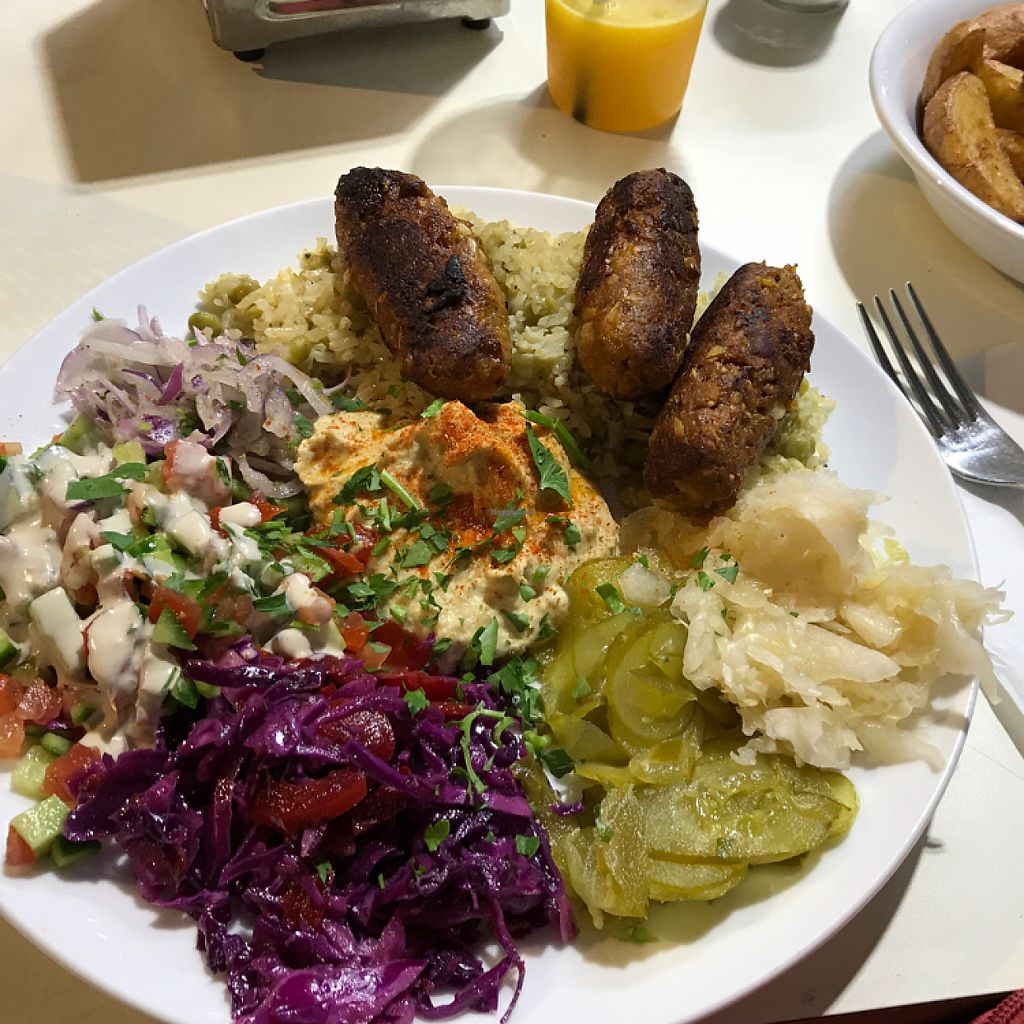 """Photo of Falafel Mevorach  by <a href=""""/members/profile/Brok%20O.%20Lee"""">Brok O. Lee</a> <br/>vegan kebab plate  <br/> May 9, 2017  - <a href='/contact/abuse/image/80470/257290'>Report</a>"""