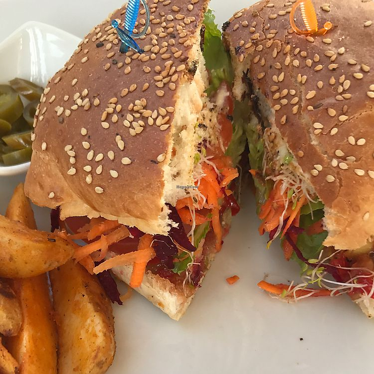 """Photo of Mako Vegan and Veggie Restaurant  by <a href=""""/members/profile/meltedbuttercup"""">meltedbuttercup</a> <br/>Vegan Hawaiian Burger <br/> June 14, 2017  - <a href='/contact/abuse/image/80535/268879'>Report</a>"""