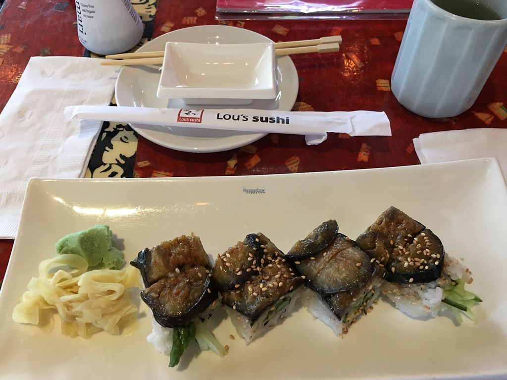 """Photo of Lou's Sushi  by <a href=""""/members/profile/Beryl"""">Beryl</a> <br/>Vegan #1 with eggplant <br/> September 24, 2016  - <a href='/contact/abuse/image/80553/177755'>Report</a>"""
