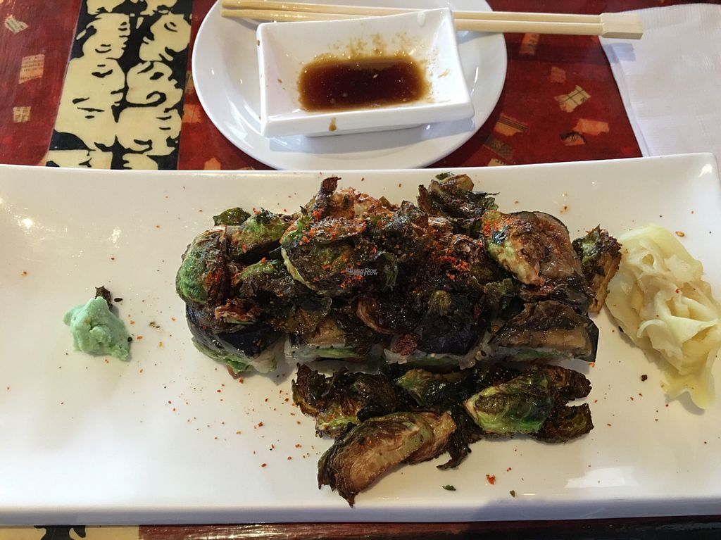 """Photo of Lou's Sushi  by <a href=""""/members/profile/Beryl"""">Beryl</a> <br/>Vegan Irishman with Brussels Sprouts (heard you can substitute asparagus) <br/> September 24, 2016  - <a href='/contact/abuse/image/80553/177756'>Report</a>"""