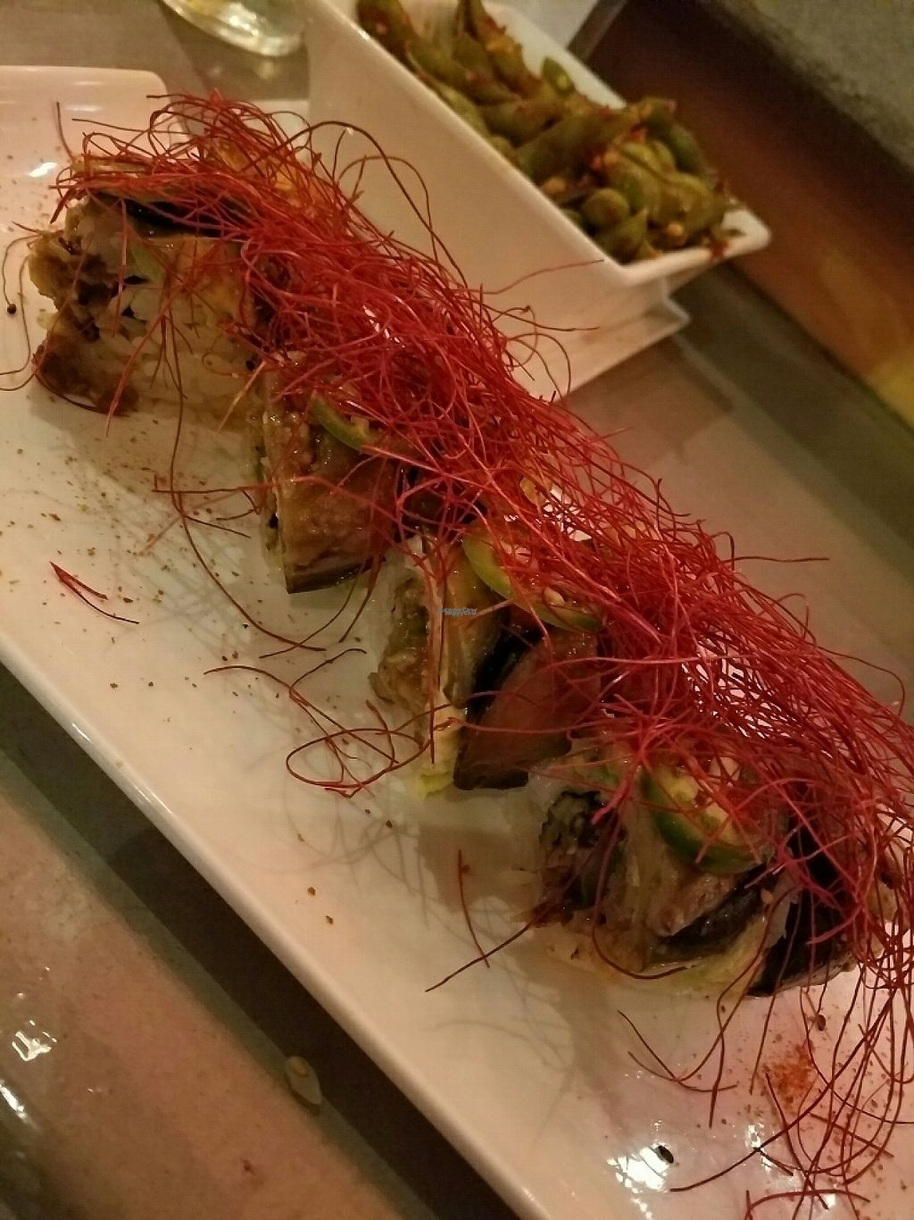 """Photo of Lou's Sushi  by <a href=""""/members/profile/FrejaNelson"""">FrejaNelson</a> <br/>vegan firecracker roll <br/> December 15, 2016  - <a href='/contact/abuse/image/80553/201538'>Report</a>"""