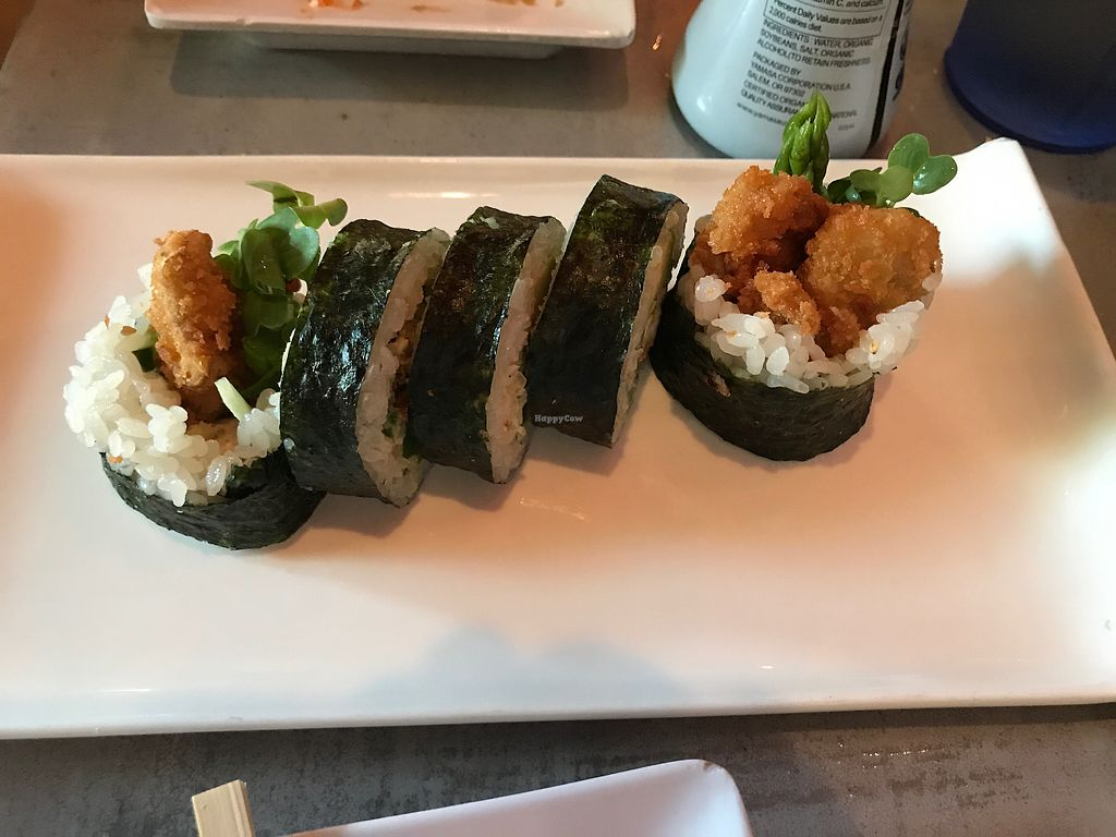 """Photo of Lou's Sushi  by <a href=""""/members/profile/sncpapa"""">sncpapa</a> <br/>Vegan Spider Roll (made with oyster mushrooms) <br/> August 6, 2017  - <a href='/contact/abuse/image/80553/289488'>Report</a>"""