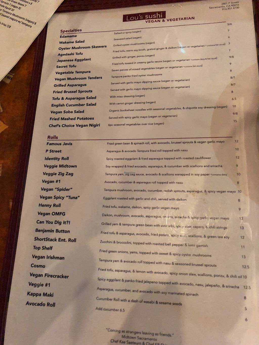 """Photo of Lou's Sushi  by <a href=""""/members/profile/User"""">User</a> <br/>The vegan menu. Lots of choices. Let them know you're vegan — although our waitress then gave us tamari and switched out the soy sauce saying that the soy sauce wasn't vegan because it wasn't gluten free. A common weird non-vegan assumption I'm finding.  <br/> April 14, 2018  - <a href='/contact/abuse/image/80553/385904'>Report</a>"""