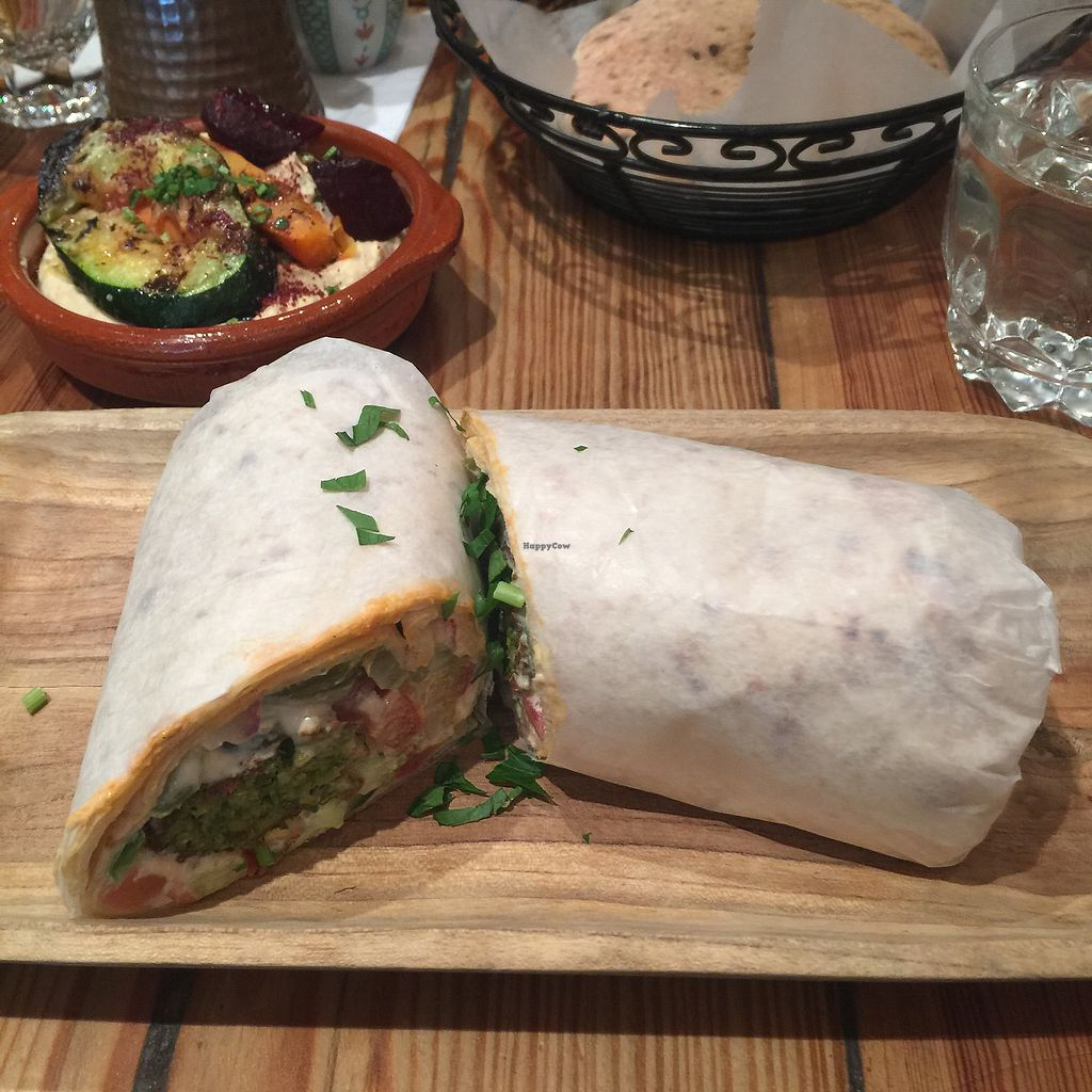 """Photo of Hummus Kitchen  by <a href=""""/members/profile/Ashley729"""">Ashley729</a> <br/>Falafel wrap and vegetable hummus <br/> October 21, 2017  - <a href='/contact/abuse/image/80555/317286'>Report</a>"""