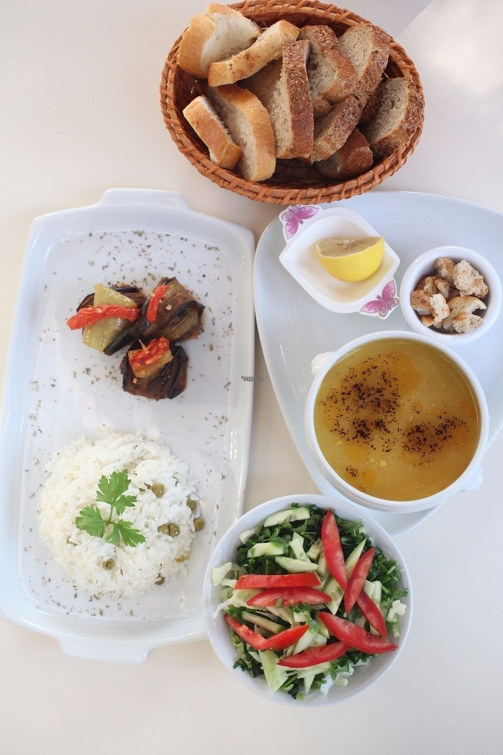 """Photo of CLOSED: Vegihi  by <a href=""""/members/profile/Lkyrk"""">Lkyrk</a> <br/>Example to a lunch menu in Vegihi: Soap of the day, İslim Kebap with vegan veggieballs, pea rice, salad and homemade bread.  <br/> October 23, 2016  - <a href='/contact/abuse/image/80619/183965'>Report</a>"""