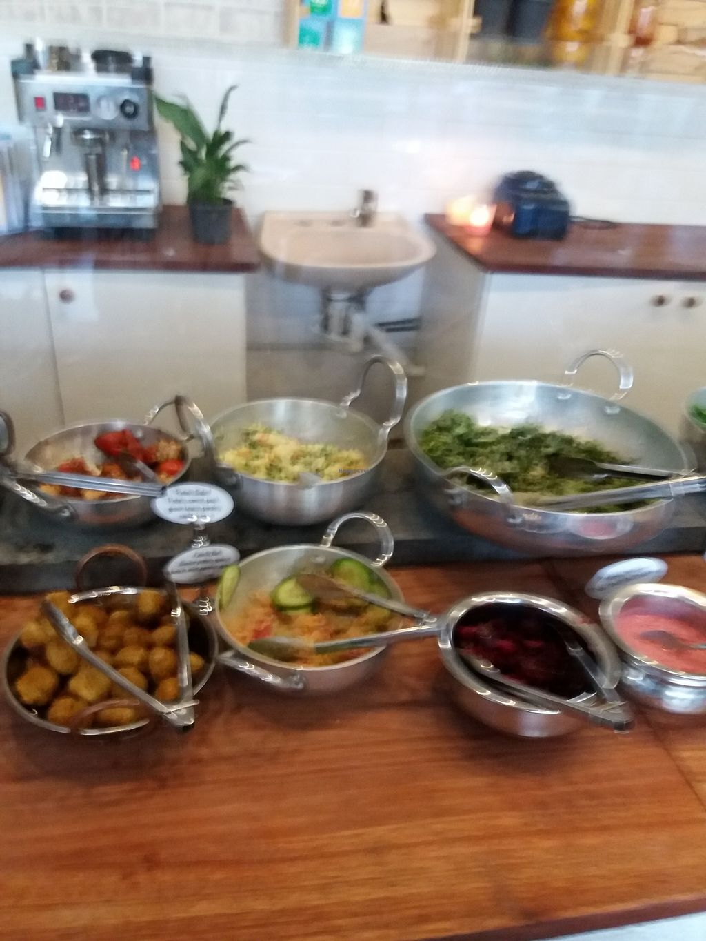 """Photo of OM Vegan Kitchen  by <a href=""""/members/profile/veganvirtues"""">veganvirtues</a> <br/>Daily buffet <br/> July 21, 2017  - <a href='/contact/abuse/image/80628/282710'>Report</a>"""