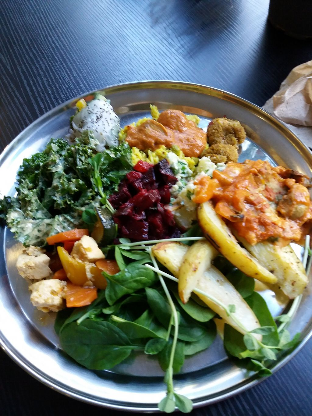 """Photo of OM Vegan Kitchen  by <a href=""""/members/profile/veganvirtues"""">veganvirtues</a> <br/>Buffet selection <br/> July 21, 2017  - <a href='/contact/abuse/image/80628/282711'>Report</a>"""