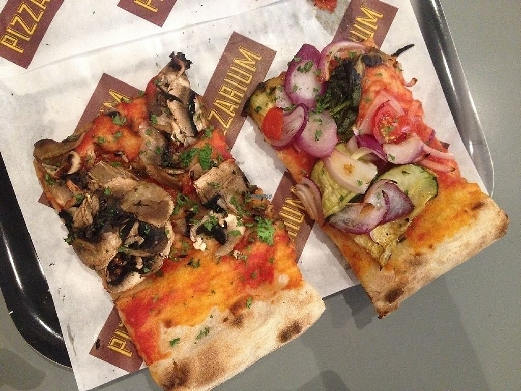 """Photo of Pizzarium  by <a href=""""/members/profile/ibelieveinseitan"""">ibelieveinseitan</a> <br/>Two of the four vegan options <br/> October 9, 2016  - <a href='/contact/abuse/image/80630/231054'>Report</a>"""