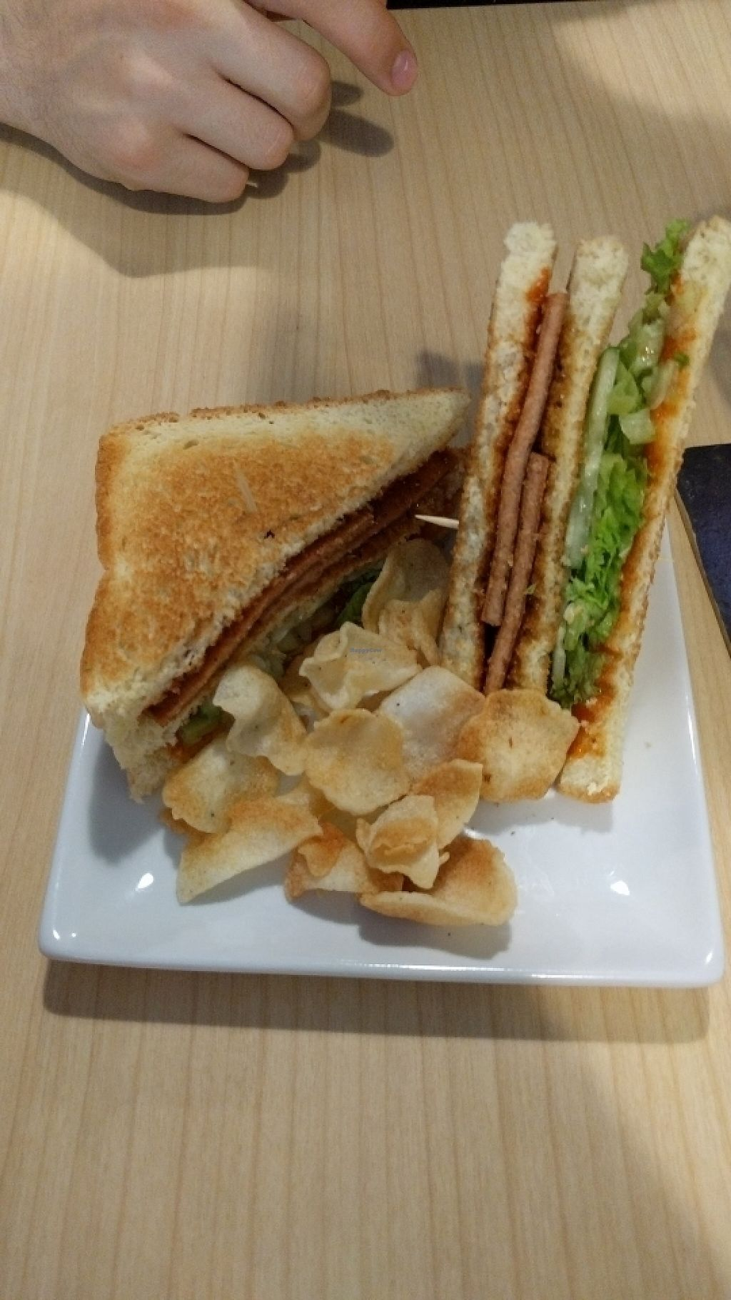 "Photo of Veggielicious Cafe  by <a href=""/members/profile/HannahGilbert"">HannahGilbert</a> <br/>ham sandwich and chips  <br/> May 31, 2017  - <a href='/contact/abuse/image/80636/264432'>Report</a>"