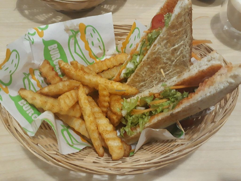 "Photo of Veggielicious Cafe  by <a href=""/members/profile/LilacHippy"">LilacHippy</a> <br/>Salad sandwich with chips <br/> October 24, 2017  - <a href='/contact/abuse/image/80636/318536'>Report</a>"