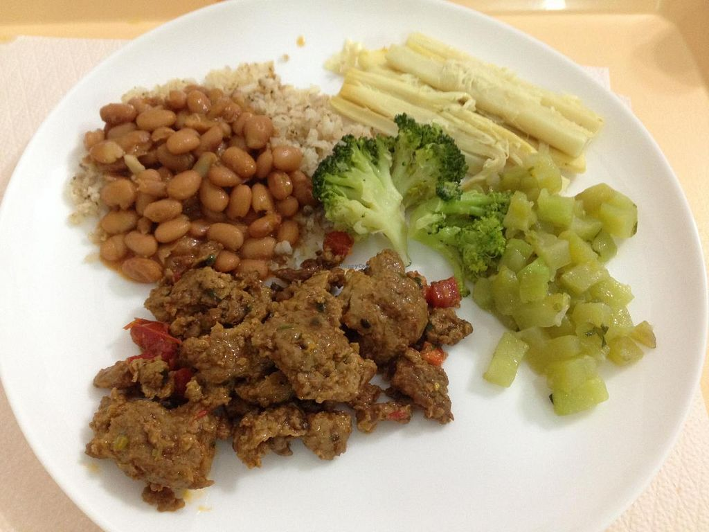 """Photo of Boa Saude  by <a href=""""/members/profile/Paolla"""">Paolla</a> <br/>Some of the hot dishes options on Sunday: whole rice, beans, zucchini, seitan, palm heart, broccoli <br/> November 30, 2014  - <a href='/contact/abuse/image/8067/86788'>Report</a>"""