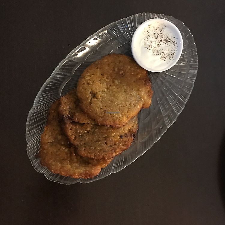 "Photo of Vega Burger  by <a href=""/members/profile/The%20London%20Vegan"">The London Vegan</a> <br/>potato pancakes (non vegan version - sauce) <br/> June 24, 2017  - <a href='/contact/abuse/image/80688/272963'>Report</a>"