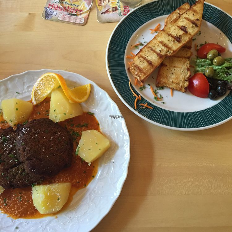 """Photo of Beim Olivenbauer  by <a href=""""/members/profile/veggielex"""">veggielex</a> <br/>Indian veggie burger and garlic bread <br/> October 14, 2016  - <a href='/contact/abuse/image/80693/182008'>Report</a>"""